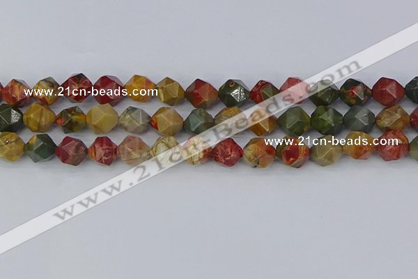CPJ628 15.5 inches 10mm faceted nuggets picasso jasper beads