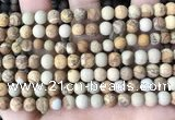 CPJ651 15.5 inches 6mm round matte picture jasper beads wholesale