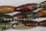 CPJ72 15.5 inches 10*30mm rice picasso jasper gemstone beads
