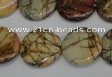 CPJ80 15.5 inches 25mm flat round picasso jasper gemstone beads