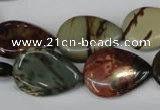 CPJ90 15.5 inches 18*25mm flat teardrop picasso jasper gemstone beads