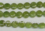 CPO28 15.5 inches 8mm flat round olivine gemstone beads wholesale