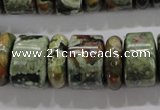 CPS115 15.5 inches 6*18mm & 12*18mm rondelle green peacock stone beads