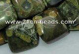 CPS19 15.5 inches 20*20mm square green peacock stone beads wholesale