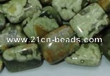 CPS26 15.5 inches 14*20mm rectangle green peacock stone beads