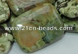 CPS29 15.5 inches 30*40mm rectangle green peacock stone beads