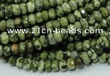 CPS51 15.5 inches 4*6mm faceted rondelle green peacock stone beads