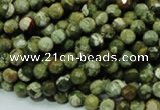 CPS55 15.5 inches 6mm faceted round green peacock stone beads
