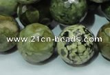 CPS61 15.5 inches 20mm faceted round green peacock stone beads