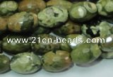 CPS68 15.5 inches 10*15mm faceted rice green peacock stone beads