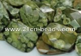 CPS80 15.5 inches 15*20mm faceted rectangle green peacock stone beads