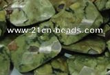 CPS81 15.5 inches 18*25mm faceted rectangle green peacock stone beads