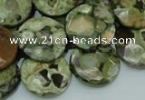 CPS87 15.5 inches 20mm faceted flat round green peacock stone beads