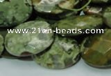 CPS92 15.5 inches 18*25mm faceted oval green peacock stone beads