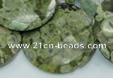 CPS93 15.5 inches 30mm faceted flat round green peacock stone beads
