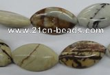 CPT02 15.5 inches 12*20mm marquise zebra picture jasper gemstone beads