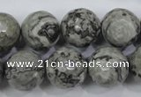 CPT116 15.5 inches 16mm faceted round grey picture jasper beads