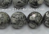 CPT117 15.5 inches 18mm faceted round grey picture jasper beads