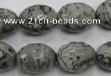 CPT123 15.5 inches 16*20mm faceted rice grey picture jasper beads