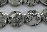 CPT141 15.5 inches 20mm faceted coin grey picture jasper beads