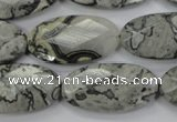 CPT148 15.5 inches 15*30mm faceted marquise grey picture jasper beads