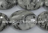 CPT174 15.5 inches 22*30mm oval grey picture jasper beads
