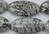 CPT176 15.5 inches 20*40mm marquise grey picture jasper beads