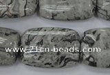CPT182 15.5 inches 20*30mm rectangle grey picture jasper beads