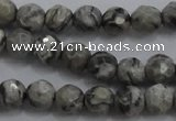 CPT186 15.5 inches 4mm faceted round grey picture jasper beads