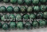 CPT205 15.5 inches 8mm round green picture jasper beads