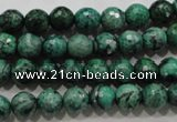 CPT214 15.5 inches 8mm faceted round green picture jasper beads