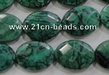 CPT240 15.5 inches 15*20mm faceted oval green picture jasper beads