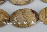 CPT254 15.5 inches 20*30mm oval picture jasper beads wholesale