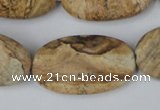 CPT255 15.5 inches 20*35mm oval picture jasper beads wholesale