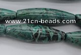 CPT307 15.5 inches 12*40mm rice green picture jasper beads