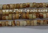 CPT461 15.5 inches 2*4mm heishi picture jasper beads wholesale