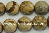 CPT506 15.5 inches 16mm faceted round picture jasper beads wholesale