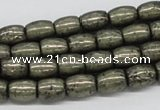 CPY09 16 inches 8*10mm drum-shaped pyrite gemstone beads wholesale