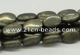 CPY12 16 inches 10*14mm oval pyrite gemstone beads wholesale