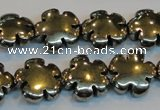 CPY164 15.5 inches 16mm carved flower pyrite gemstone beads wholesale