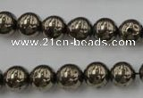 CPY204 15.5 inches 10mm round pyrite gemstone beads wholesale