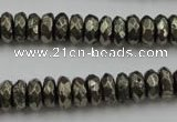 CPY216 15.5 inches 4*10mm faceted rondelle pyrite gemstone beads