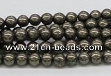 CPY23 16 inches 4mm round pyrite gemstone beads wholesale