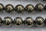 CPY25 16 inches 14mm round pyrite gemstone beads wholesale