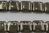 CPY252 15.5 inches 14*14mm square pyrite gemstone beads wholesale