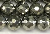 CPY267 15.5 inches 8mm round faceted pyrite gemstone beads