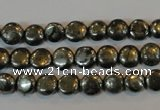 CPY300 15.5 inches 7mm flat round pyrite gemstone beads wholesale