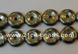 CPY336 15.5 inches 12mm donut pyrite gemstone beads wholesale