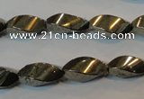 CPY347 15.5 inches 8*16mm twisted rice pyrite gemstone beads wholesale