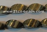 CPY348 15.5 inches 10*20mm twisted rice pyrite gemstone beads wholesale